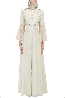 Light Mint Green Hand Embroidered Jumpsuit by Baavli