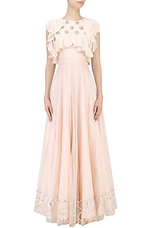 Light Pink Floral Embroidered Ruffled Dress by Baavli