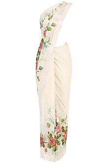 Off White Floral Hand Painted Saree by Baavli
