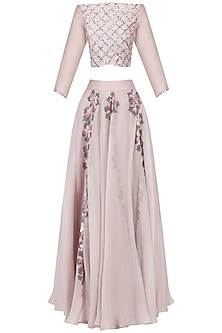 Mauve Handpainted Crop Top and Skirt Set by Baavli
