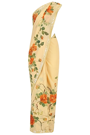 Yellow Floral Hand Painted Saree by Baavli