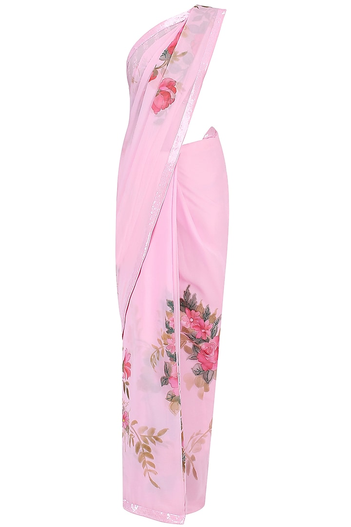 Pink Floral Hand Painted Saree by Baavli