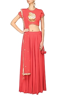 Coral Red Foil and Cutdana Work Crop Top and Lehenga Skirt Set by Baavli