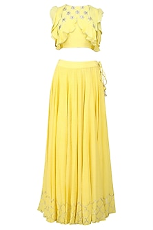 Yellow Floral Embroidered Top and Silver Foil Lehenga Set by Baavli