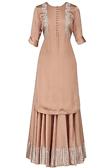 Dusty Peach Foil Work Kurta and Sharara Pants Set by Baavli
