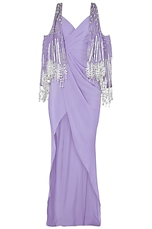 Periwinkle Embroidered High Slit Gown by Babita Malkani
