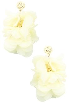 White pearl big flower earrings  by Bansri