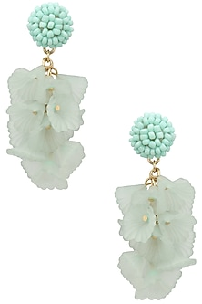 Light blue pearl big flower earrings  by Bansri