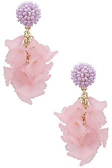 Pink and pearl big flower earrings by Bansri