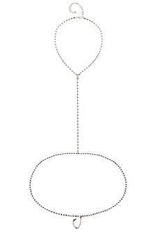 Rhodium Plated Crystals Chain Body Harness by Bansri
