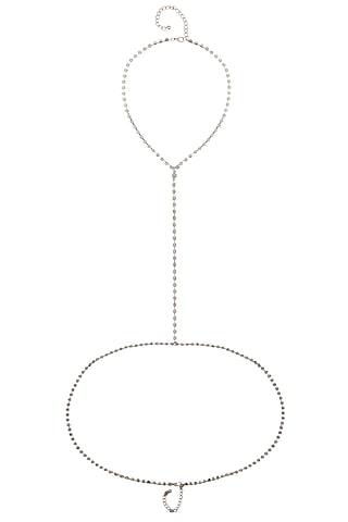 Rhodium Plated Crystals Chain Body Harness by Bansri