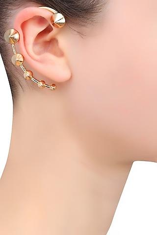 Gold Plated Cone Shape Multiple Motifs Earcuff by Bansri