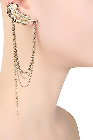 Gold Plated Chains Hanging Petal Earcuff by Bansri