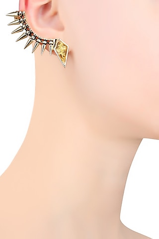 Gold Plated Crystal Top Spikes Earcuff by Bansri