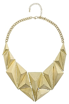 Gold Plated 3D Textured Geometric Shape Motifs Statement Necklace by Bansri