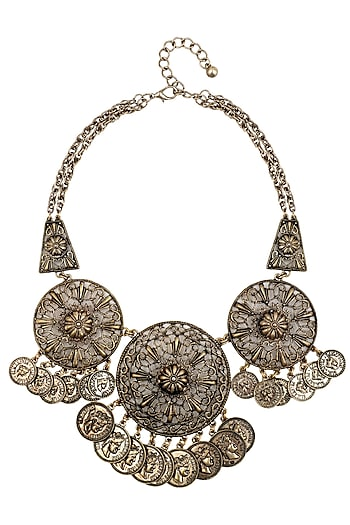 Antique Gold Plated Jaal Round Motifs Tribal Oversized Statement Necklace by Bansri