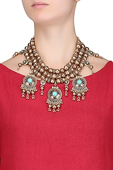Antique Gold Plated 3D Round Motifs Tribal Oversized Statement Necklace by Bansri