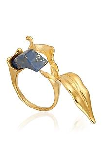 Gold Finish Lapis Lazuli Stone Ring by Bansri