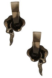 Gunmetal Finish Smokey Stone Earrings by Bansri