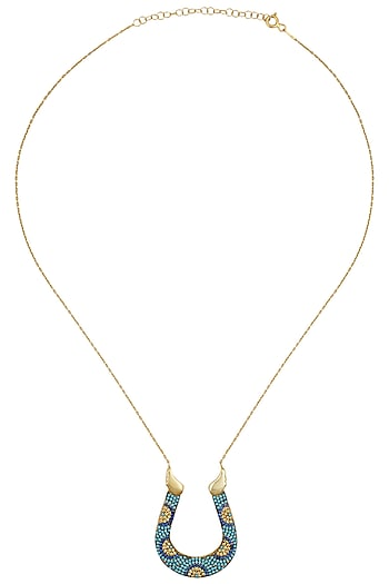 Gold Plated Horse Shoe Pendant Necklace by Bansri