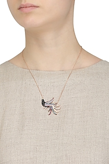 Rose Gold Plated Bird Pendant Necklace by Bansri