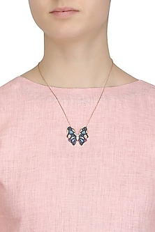 Rose Gold Plated Butterfly Pendant Necklace by Bansri