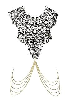 Gold Finish Black Crochet Chain Body Harness by Bansri