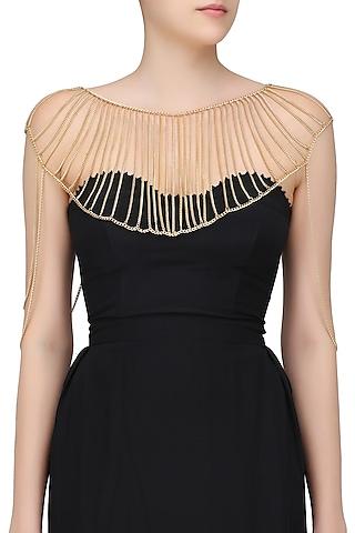 Gold Finish Chain Tassel Body Harness by Bansri