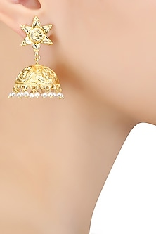 Gold Finish Pearl Textured Jhumki Earrings by Bansri