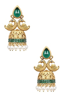 Gold Finish Emerald Crystals and Pearl Textured Jhumki Earrings by Bansri