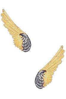 Gold and Gunmetal Finish Zirconia Feather Earrings by Bansri