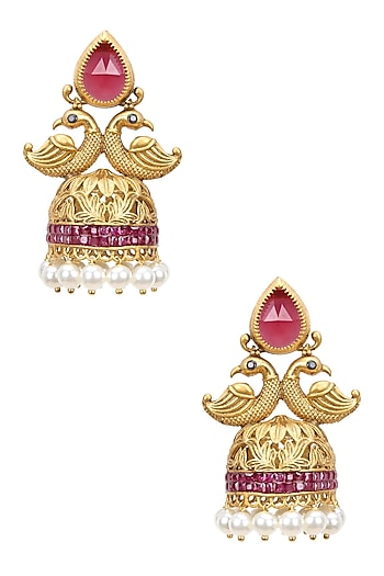 Gold Finish Ruby Crystals and Pearl Textured Jhumki Earrings by Bansri