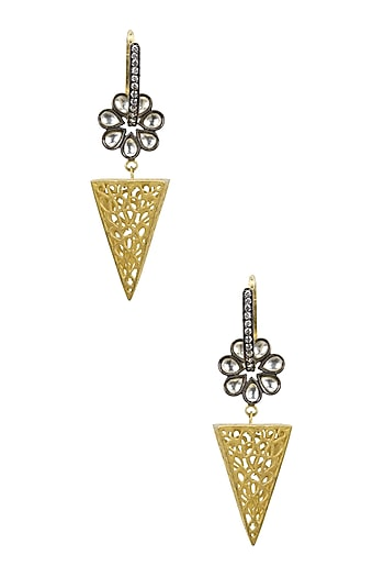 Gold and Gunmetal Finish Zirconia Pyramid Earrings by Bansri