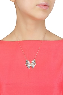 Rose Gold Blue, White, Pinj and Orange Butterfly Pendant Necklace by Bansri