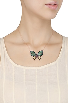 Rose Gold Green and Gold Butterfly Pendant Necklace by Bansri