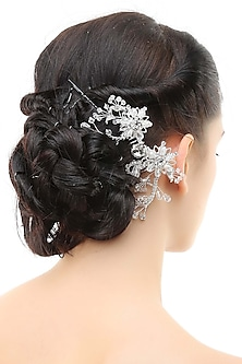 Rhodium plated crystals and white stone metal haircomb by Bansri