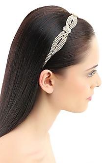 Gold plated stone studded twisted rope pattern elasticated headband by Bansri