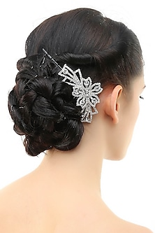 Rhodium plated crystals and stone studded haircomb by Bansri