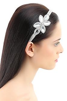 Rhodium plated big crystal petal design elasticated headband by Bansri