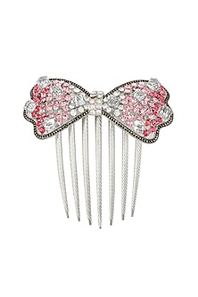 Set of 2 rhodium plated shades of pink stone bow haircomb by Bansri