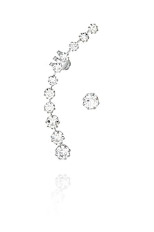 Silver plated crystal round earcuff with crystal stud earring set by Bansri