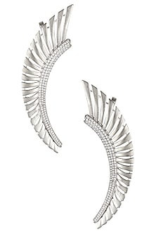 Rhodium Plated Stones Feather Earcuffs by Bansri