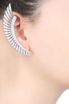 Rhodium Plated Stones Feather Earcuffs by Bansri