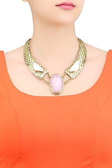 Matte Gold Plated Baroque Pearl and Rose Quartz Textured Statement Necklace by Bansri