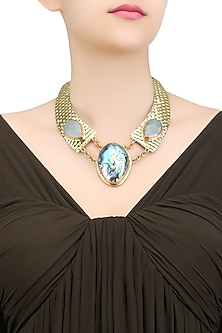 Matte Gold Plated Sea and Aqua Stones Textured Statement Necklace by Bansri