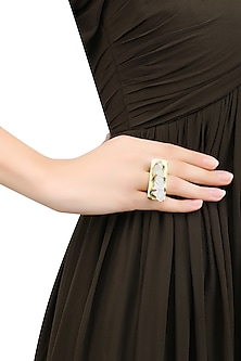 Gold Plated Uncut Crystal Stone Statement Ring by Bansri