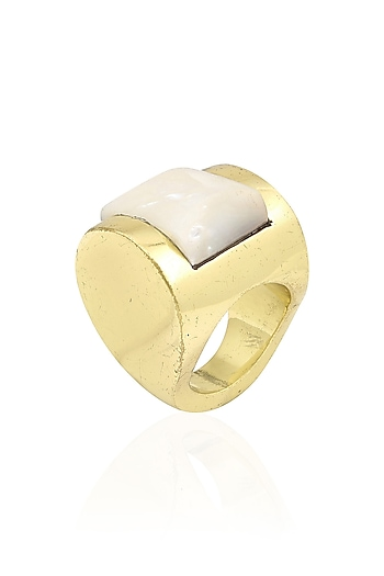 Gold Plated White Crystal Stone Statement Ring by Bansri