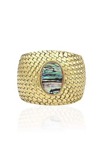 Gold Plated Blue Crystals Stone Textured Cuff by Bansri