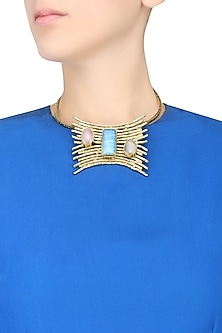 Gold Plated Blue, Grey and Green Stone Choker Necklace by Bansri