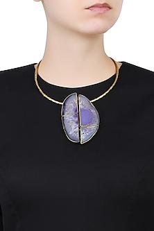Gold Plated Purple Stone Choker Necklace by Bansri